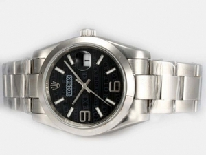 Great Rolex DateJust Automatic 2008 New Design Insignia Black Dial AAA Watches [A5K8]