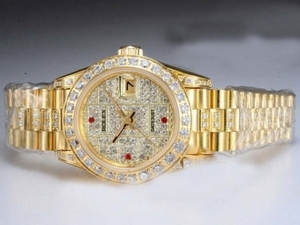Great Rolex DateJust Automatic Full Gold with Diamond Bezel and Dial AAA Watches [J7K3]