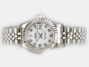 Great Rolex Datejust Automatic Blue Diamond Marking with White Dial AAA Watches [C7M1]