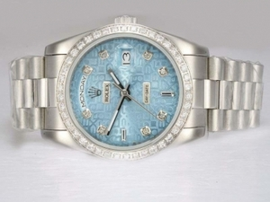 Great Rolex Day-Date Automatic Diamond Bezel with Blue Computer Dial AAA Watches [W5R3]
