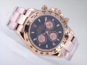 Great Rolex Daytona Chronograph Asia Valjoux 7750 Movement Full Rose Golden Case AAA Watches [U9H4]