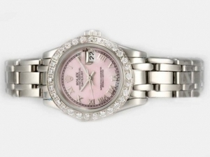 Great Rolex Masterpiece Automatic Diamond Bezel with Pink Dial AAA Watches [W8C2]