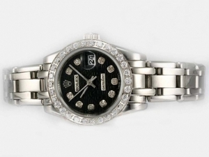 Great Rolex Masterpiece Automatic Diamond Bezel and Marking with Black Dial AAA Watches [T5W7]