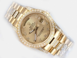 Modern Rolex Day-Date Automatic Full Gold Diamond Bezel with Golden Dial AAA Watches [T1R5]