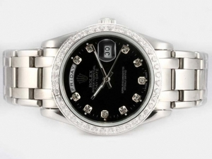 Modern Rolex Masterpiece Automatic Diamond Bezel and Marking with Black Dial AAA Watches [F6N9]