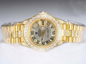 Perfect Rolex DateJust Automatic Full Gold with Diamond Bezel and Marking AAA Watches [E5L6]