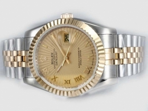 Perfect Rolex DateJust Automatic Two Tone with Golden Dial-Roman Marking AAA Watches [A1A6]