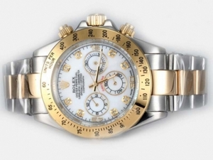 Perfect Rolex Daytona Chronograph Automatic Two Tone with white Dial AAA Watches [M8K1]