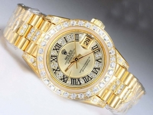 Popular Rolex DateJust Automatic Full Gold with Diamond Bezel and Marking AAA Watches [Q6G5]