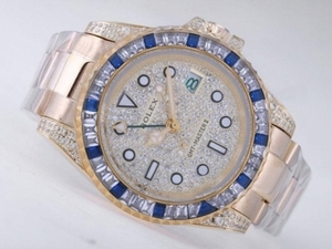Popular Rolex GMT-Master II Automatic Full Gold CZ Diamond Bezel with Dial AAA Watches [C8G6]