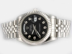 Quintessential Rolex Day-Date Automatic Diamond Marking with Black Dial AAA Watches [A2A4]