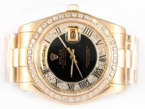 Vintage Rolex Day-Date Automatic Full Gold Diamond Bezel with Black Dial AAA Watches [T1T4]