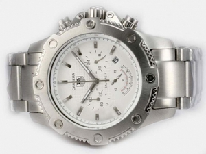 Cool Tag Heuer Carrera Working Chronograph with White Dial AAA Watches [M4U2]