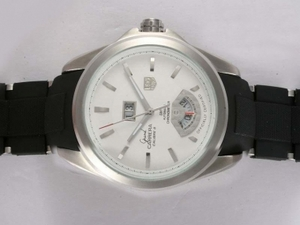 Gorgeous Tag Heuer Grand Carrera Calibre 8 Automatic White Dial with Rubber Strap AAA Watches [S2N2]