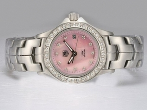 Gorgeous Tag Heuer Enlace 200 Metros Diamond Bisel Y Marcado Con Pink Dial AAA Relojes [P6A2]