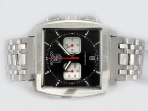 Moderne Tag Heuer Monaco Working Chronograph med sort urskive AA