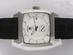Populaire Tag Heuer Monaco Automatic met White Dial-Rubber Band AAA Horloges [P2L4]