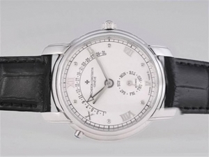 Fancy Vacheron Constantin Patrimony Day-Date Flyback With White Dial AAA Watches [O1A8]