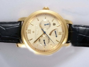 Perfect Vacheron Constantin Patrimony Manual Widing Gold Case with White Dial AAA Watches [I2O6]