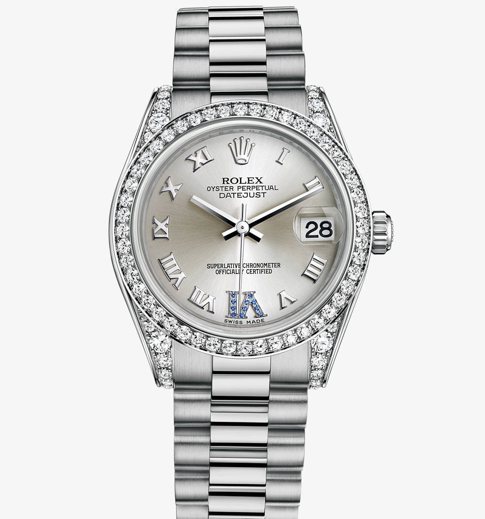 Replica Rolex Datejust Lady 31 Watch: 18 ct white gold with lugs set with diamonds – M178159-0052 [b4a1]