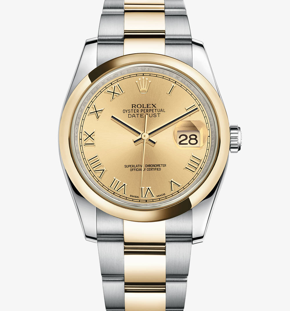 Replica Rolex Datejust Watch: Yellow Rolesor - combination of 904L steel and 18 ct yellow gold – M116203-0128 [1001]