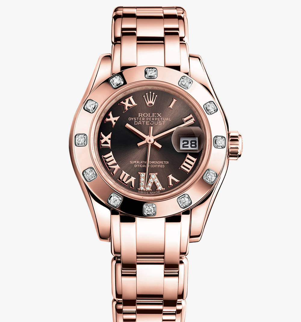 Replica Rolex Lady-Datejust Pearlmaster Watch: 18 ct Everose gold – M80315-0013 [5412]