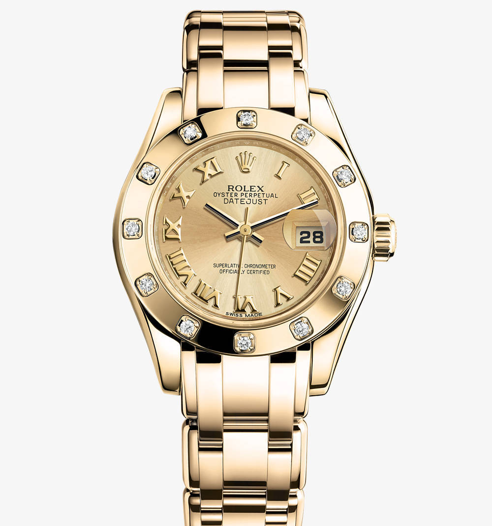 Replica Rolex Lady-Datejust Pearlmaster Watch: 18 ct yellow gold – M80318-0060 [f7bc]