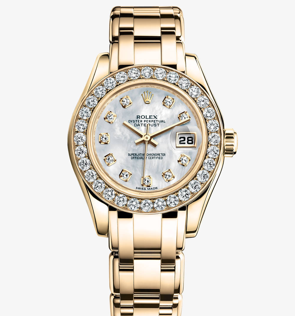 Replica Rolex Lady-Datejust Pearlmaster Watch: 18 ct yellow gold – M80298-0070 [1816]