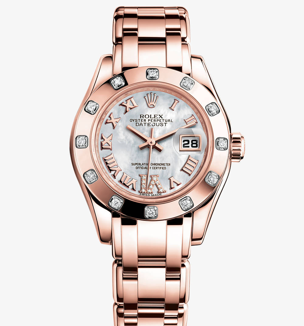 Replica Rolex Lady-Datejust Pearlmaster Watch: 18 ct Everose gold – M80315-0014 [e279]