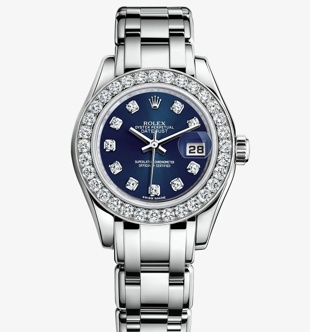 Replica Rolex Lady-Datejust Pearlmaster Watch: 18 ct white gold – M80299-0029 [9545]