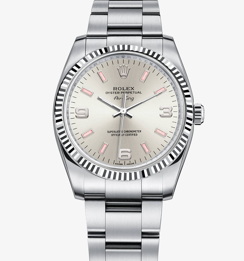 Replica Rolex Air-King Watch: White Rolesor - combination of 904L steel and 18 ct white gold – M114234-0010 [fed9]