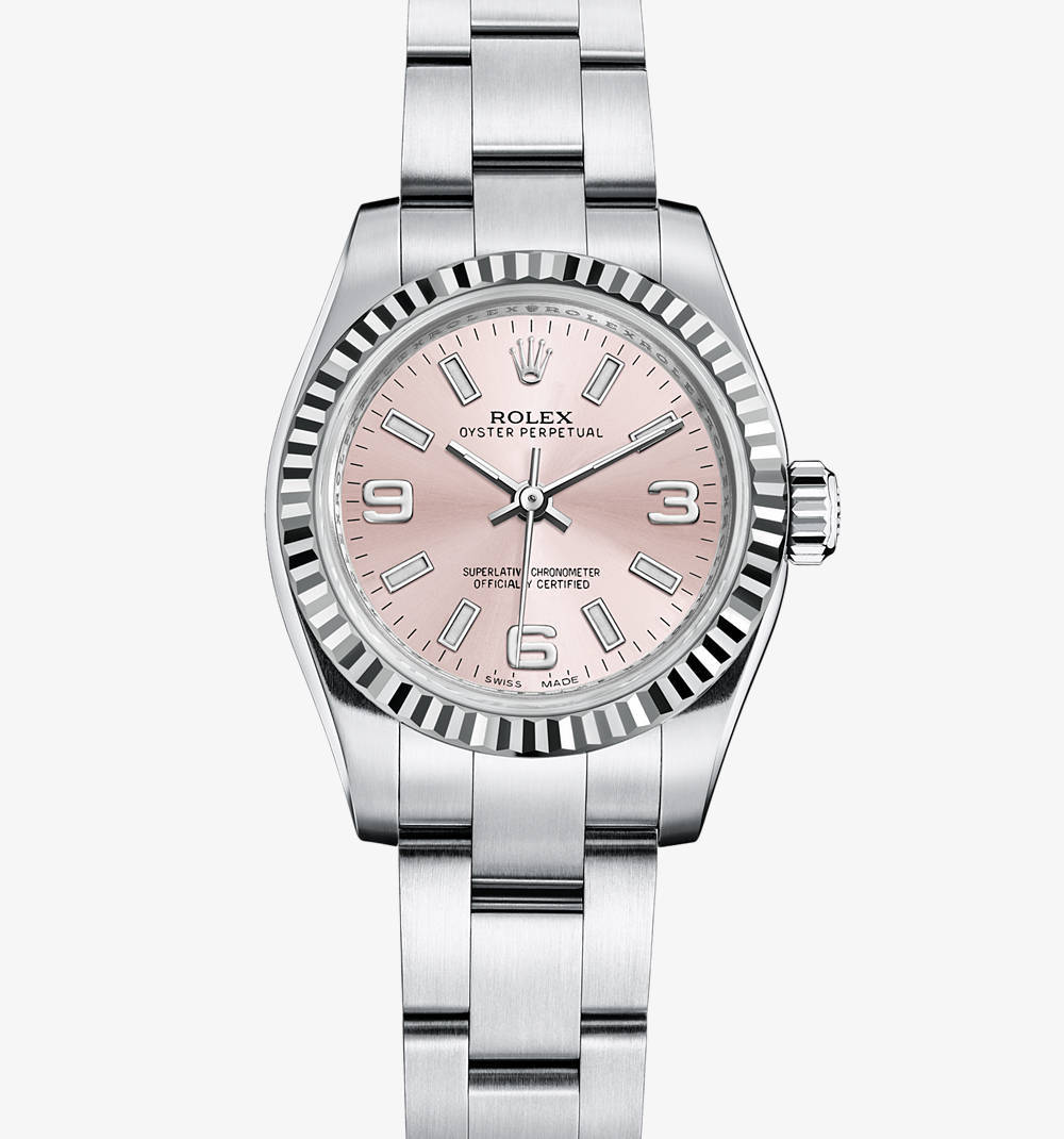 Replica Rolex Lady Oyster Perpetual Watch: White Rolesor - combination of 904L steel and 18 ct white gold – M176234-0010 [45a3]
