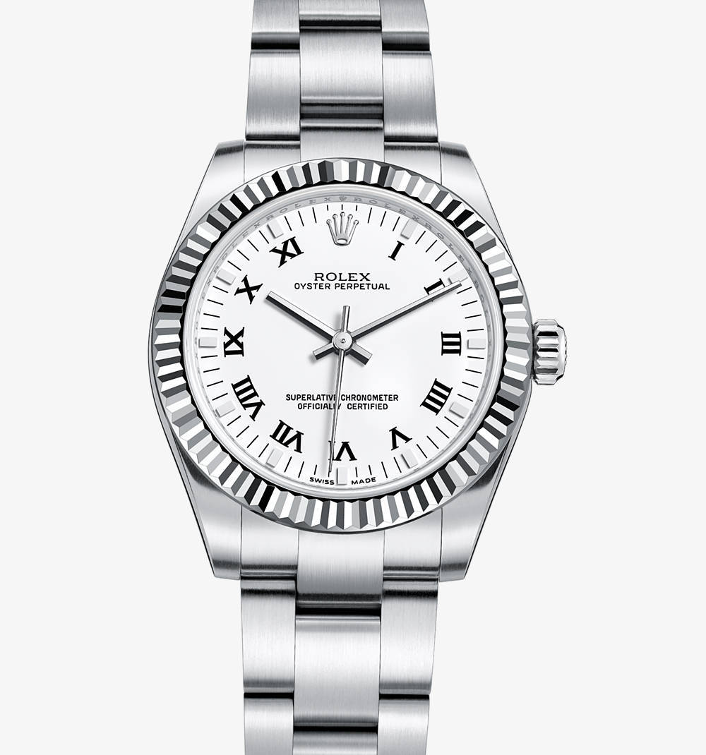 Replica Rolex Oyster Perpetual 31 mm Watch: White Rolesor - combination of 904L steel and 18 ct white gold – M177234-0012 [1a65]