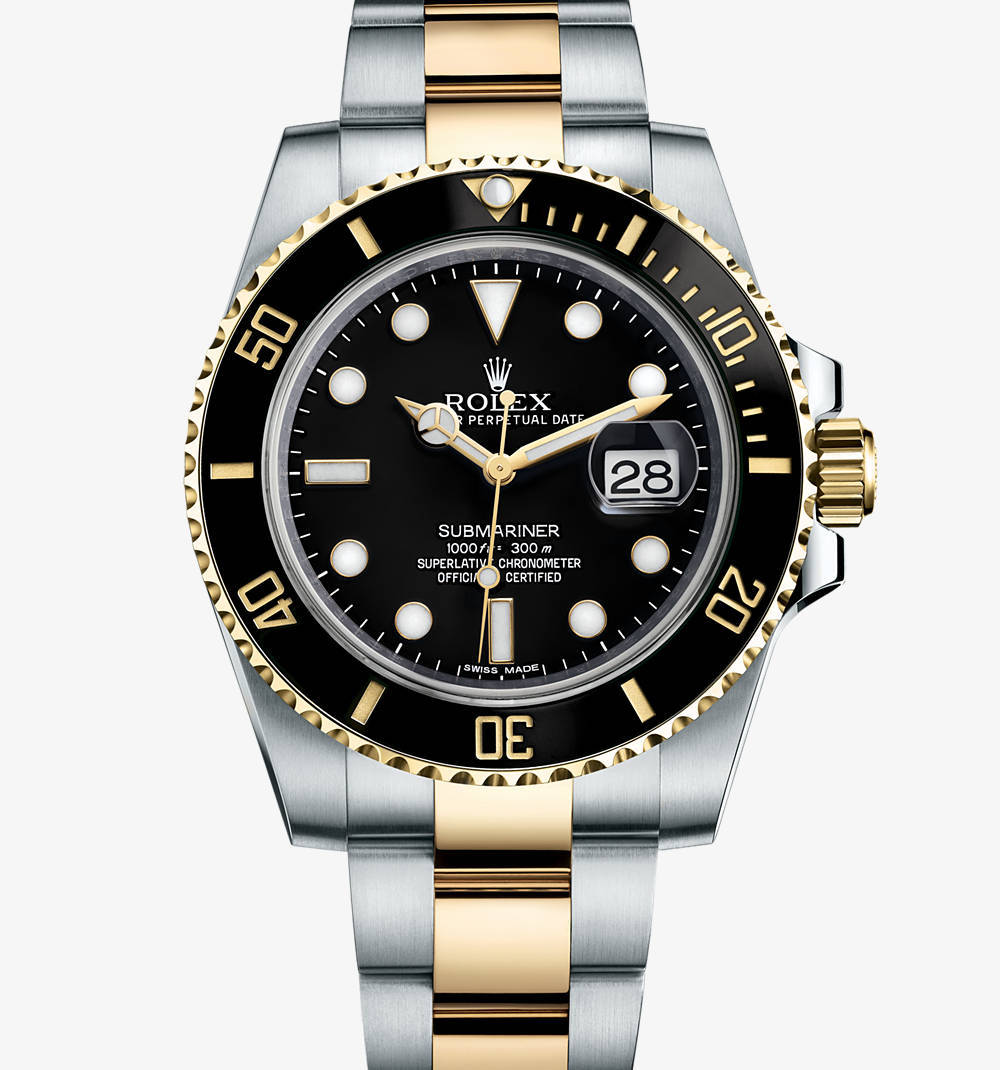Replica Rolex Submariner Date Watch: Yellow Rolesor - combination of 904L steel and 18 ct yellow gold – M116613LN-0001 [ba72]