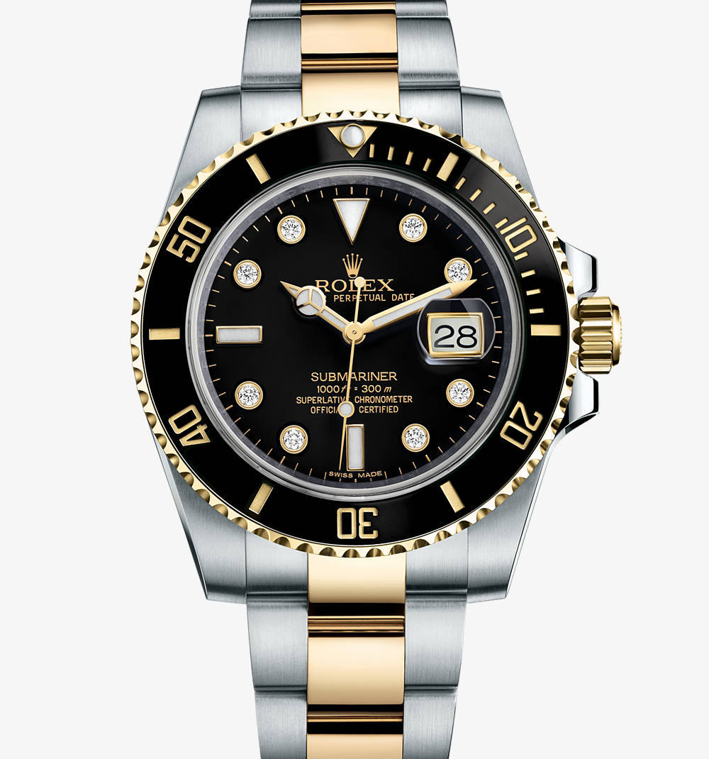 Replica Rolex Submariner Date Watch: Yellow Rolesor - combination of 904L steel and 18 ct yellow gold – M116613LN-0003 [c34b]