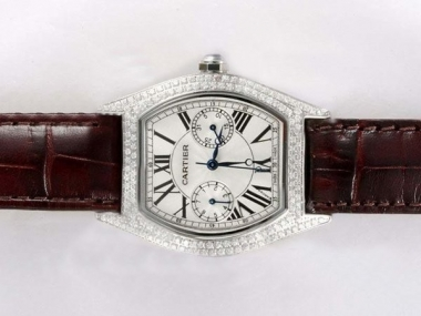Fancy Cartier Tortue Full Diamond Bezel with White Dial Lady Size AAA Watches [W7C1]