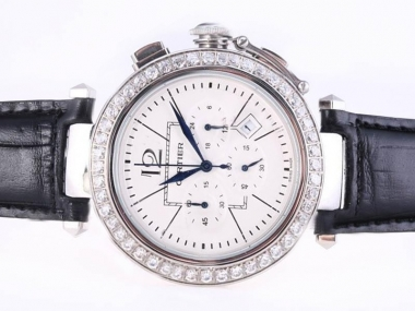 Modern Cartier Pasha Working Chronograph Diamond Bezel with White Dial AAA Watches [X1M5]