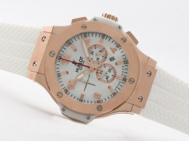 Perfect Hublot Big Bang Working Chronograph Rose Gold Case with White Dial AAA Watches [L4R7]