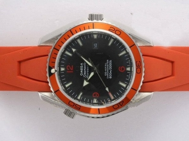 Gorgeous Omega Seamaster Planet Ocean Automatic Black Dial with Orange Bezel AAA Watches [E2R4]
