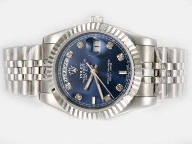 Cool Rolex Day-Date Automatic Diamond Marking with Blue Dial AAA Watches [L1V2]